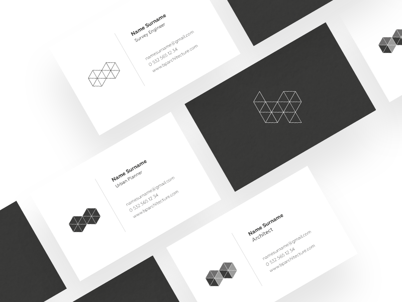 Bp Architecture Business Cards branding business cards shape geometric grey monogram architecture logo