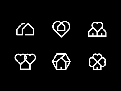 Home Logo Exploration icon logo illustration identity design branding clover heart home
