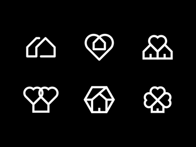 Home Logo Exploration icon logo illustration identity design branding clover heart home