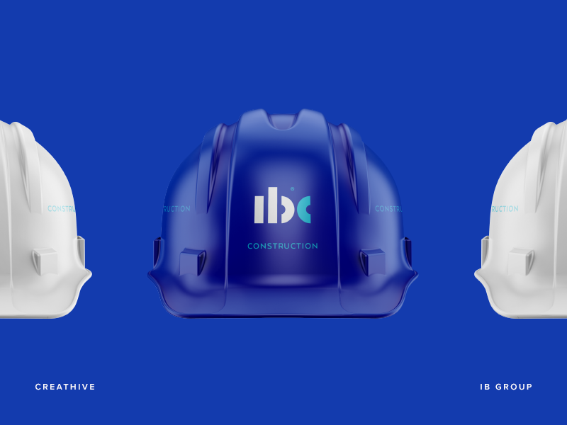 IB Construction Hard Hat logotype logo lettering identity branding mark symbol hat hard monogram