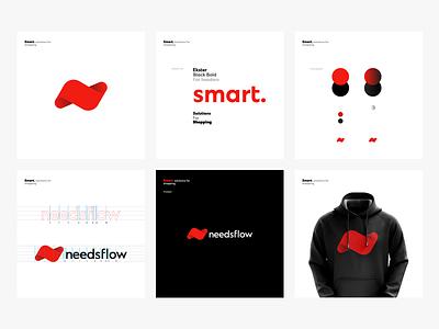 Needsflow Branding black red logotype symbol n monogram logo illustration icon fluid flow branding