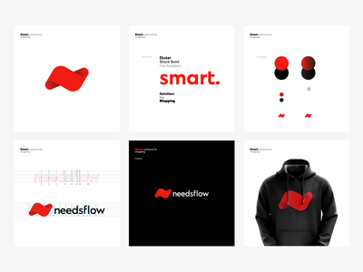 Needsflow Branding black red logotype symbol n monogram logo illustration icon fluid flow branding