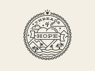 Threads of Hope hope filipino phillippines chains banner heart clouds mountains palm tree simple symbolism monoweight