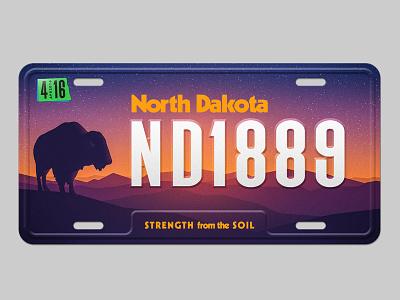 North Dakota License Plate fargo redesign license plate retro badlands sunset bison license north dakota nd