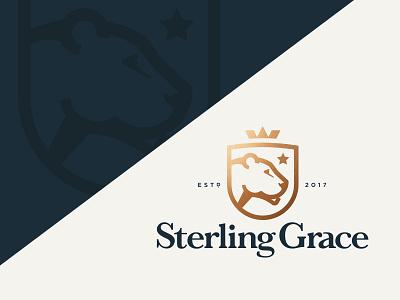 Sterling Grace bronze star identity classic crown lioness lion shield lockup logo
