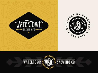 Watertown Brewing Co. hops pattern south dakota wheat branding brewing beer lockup badge logo