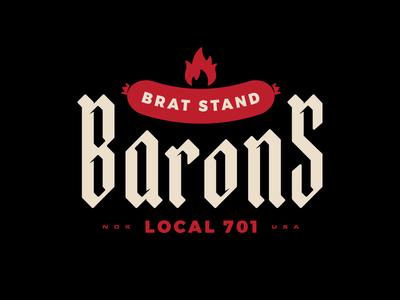 Brat Stand Barons fargo north dakota grill lockup hot dog red bratwurst flame blackletter sausage logo badge