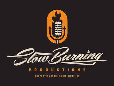 Slow Burning Productions studio classic script sd south dakota microphone badge identity system fire lockup brand logo