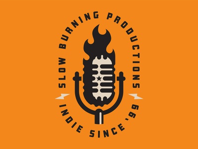 Slow Burning Productions record studio retro sd south dakota fire microphone badge lockup identity system brand logo