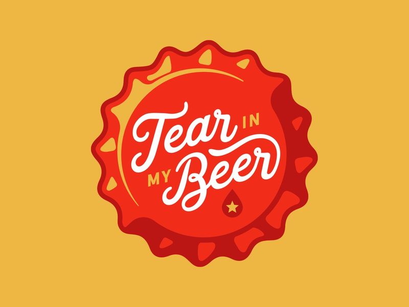 Tear in my Beer badge badge logo type art craft brewery script bottle cap star droplet beer