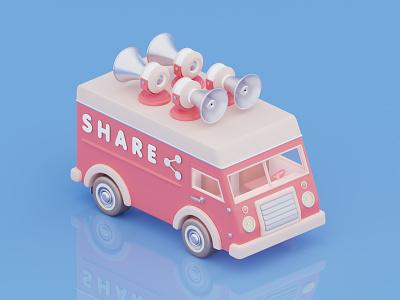 Car share car render blender blender 3d c4d 3d 3d art 3d illustrator illustrator illustration isometric isometric art van digital art