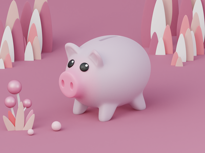 Piggy bank animal cute art web bank pink pig isometric art digital art 3d artist c4d render blender 3d blender 3d illustrator 3d
