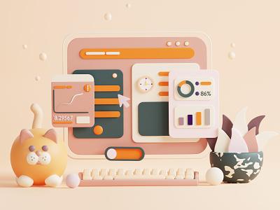 Web Illustration illustration geometry ui octane colorful animal cat adobe photoshop c4d minimal website uiux webdesign illustrator 3d art render blender 3d illustrator 3d