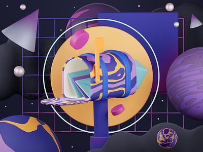 Space postbox color creative app abstract blender digitalart uiux graphic design illustration illustrator 3d art 3d illustrator 3d