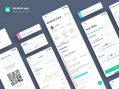 Medical Records App physical doctor medicine app medicinal medical design medical app medicine medical clean ios mobile uiux minimal app flat ux ui interface