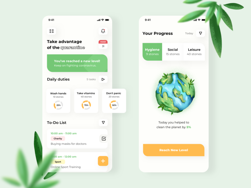 Day Planner App plants green planet earth planet environment productivity productive quarantine to-do list planner clean ios mobile uiux minimal design app ux ui interface