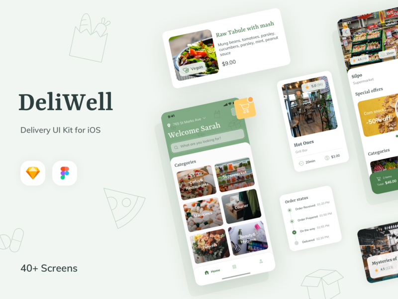 DeliWell Delivery App 2 buy now buy shopping food delivery courier delivery service delivery app delivery ui kit design ui kit uiux minimal app flat ui