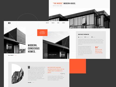 House Construction Company Website layout homepage desktop business architecture modern uiux flat ux ui landing page landing house design website webdesign web house