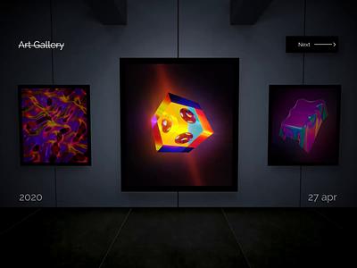 Art Gallery App render qr code navigation motion graphics motion design motion dark concept cinema4d c4d artwork gallery art app after effects adobe xd 3d animation 3d art 3d