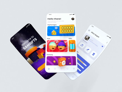 Sangifts - Charity App Concept loop motion graphics motion app design santa helping children wishbox gift box gift charity kid kids mobile interface ux ui animation uiux app