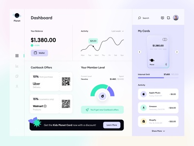Planet— User Dashboard for Mobile Banking dashboard design dashboard ui online banking fintech interface mobile banking app minimal flat uiux glassmorphism clean ui fintech app mobile app design user dashboard