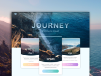Journey ui cards material traveling blue web landing flat clear dashboard interface