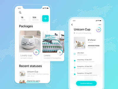 Trackify app ios 11 ios packages cadabra app clean simple shopping tracking app design ux ui