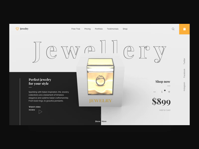 Jewellery - website animation jewelry c4d 3d grid system bootstrap webgl ecommerce broken grid web design ux ui ux ui interface design interface gamification clean design animation