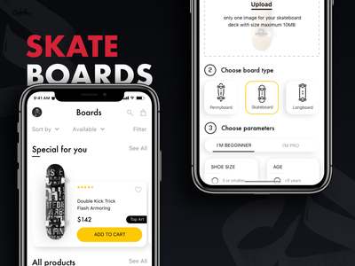 SkateBoards - Shopping App ux shopping uiux ui mobile app mobile interface design interface interaction skateboards shopping app
