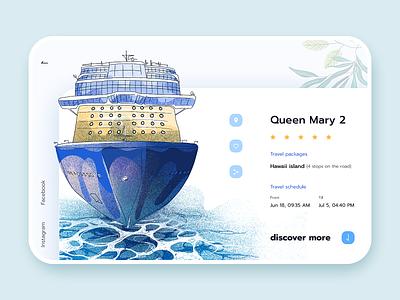 Cruises - Website drawing sea ship cruise ship cruise webinterface webdesign illustration web ui design interface