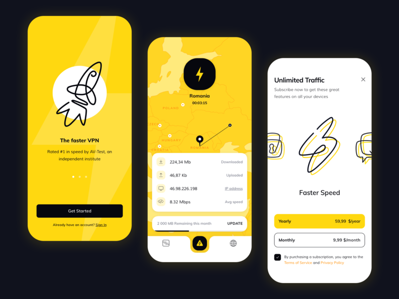 VPN Service Concept yellow ios android ux ui uiux vpn services vpn app design concept responsive design interface application mobile design