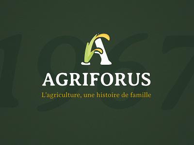 Agriforus farm organic vector design branding agricultural agriculture green illustration logo