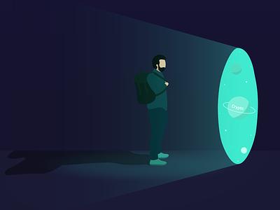 Illustration Backpack Planet illustrator space planet flat illustration blockchain bitcoin crypto