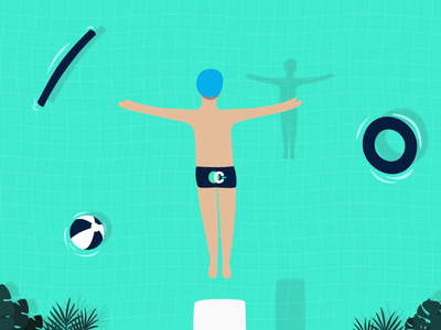 Summer jump trunks swimming pool illustrator vector jump pool summer flat illustration