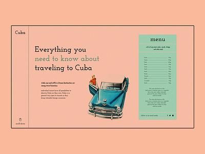 Cuba vintage travel cuba website ui web colorful colors webdesign web concept design