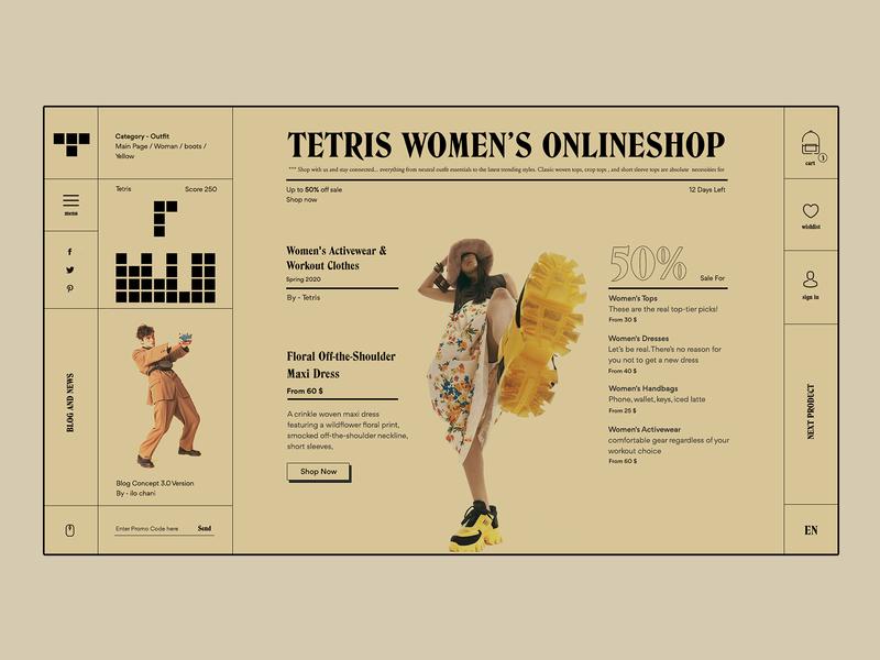 Tetris editorial concept botasi tetris online shopping online shop website colors ilo chani colorful experiment design ui web web concept webdesign