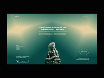 Green light colorful meditating meditation buddha experiment web ilo chani website design ui web concept webdesign
