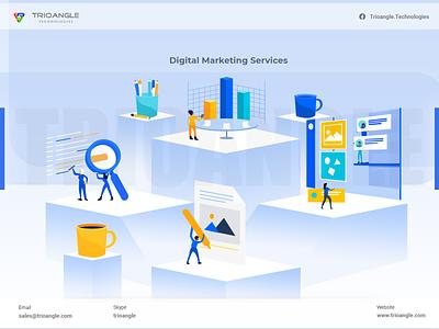 Digital Marketing Services - 2D design vector illustration branding logo motion graphics graphic design 3d animation ui