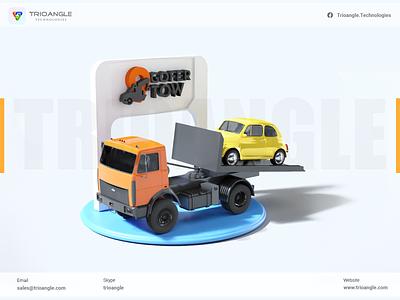 Tow Service - 3D design vector illustration delivery 3d branding logo motion graphics graphic design ui cinema4d animation 3deyebrows 3dmodelling uber blender taxi truck trioangletechnologies gofertow trioangle
