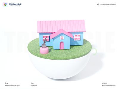 Rental Design - 3D Model animation 3d airbnb booking design ux ui onlinerental 3dmodelling key room blender 3dhouse home rental trioangletechnologies makent trioangle
