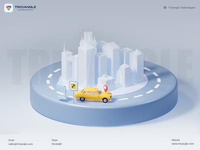 Car Rental Script - 3D Design motion graphics graphic design 3d ui booking banner interface delivery design animation render model 3dcharacter carbooking car3d uber taxi trioangletechnologies gofer trioangle
