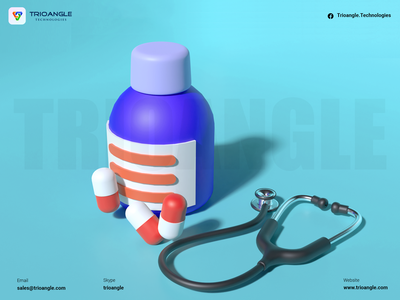 Pharmacy Delivery - 3D Model minimal interface animation render model 3d graphic design ui 3dcharacter 3dmodels 3dsmax stethoscope tablet doctor delivery pharmacy medicine trioangletechnologies goferpharmacy trioangle
