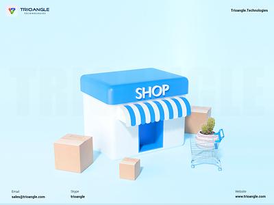 Online Shopping - 3D model motion graphics design ux ui cinema4d animation render model 3dcharacter 3dmascara parcel delivery cart onlineshop sell buy shop trioangletechnologies spiffy trioangle
