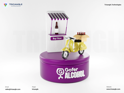 Alcohol Delivery - 3D Model banner poster interface design ux ui cinema4d animation render model 3dcharacter 3dmascara parcel wineshop delivery alcohol alcoholdelivery trioangletechnologies goferalcohol trioangle
