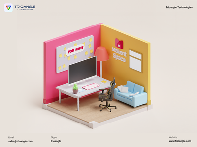 Space Rental - 3D Model isometric banner poster design ux ui animation render model 3dcharacter 3dmascara officerent booking airbnb roombooking office spacerental trioangletechnologies makentspace trioangle