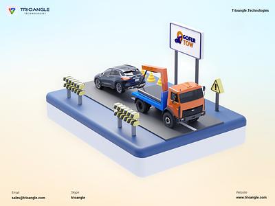 Tow Truck - 3D Model ux ui animation render banner poster design model 3dcharacter towing car road uber truck tow gofertow trioangletechnologies trioangle