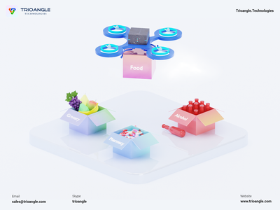 Product Delivery - 3D Model banner poster design ux ui animation render model 3d character dron service alcohol grocery food delivery goferdeliveryall trioangle technologies trioangle