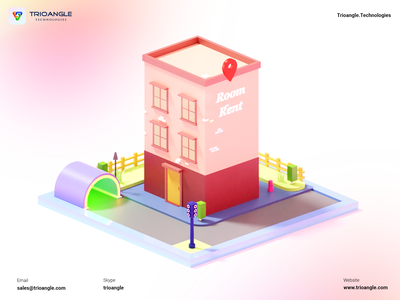 Hotel booking - 3D Model interface banner poster design ux ui animation render model airbnb 3d building isometric hotel booking rental room makent hotel trioangle technologies trioangle