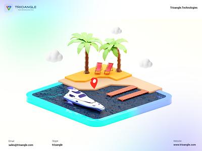 Boat Rental - 3D Model graphic design minimal interface ux ui design banner poster model airbnb 3d building isomatric ship booking rental boat rent makent boat trioangle technologies trioangle