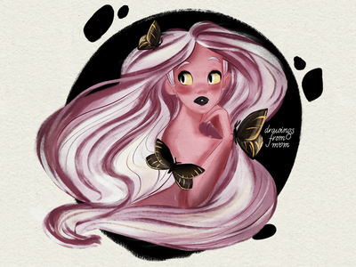 Girl with butterflies procreate art illustration drawing butterfly girl